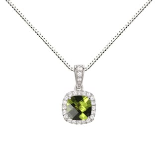 Sterling Silver Checkerboard Cushion Peridot/ Lab-created White Sapphire Halo Pendant Necklace