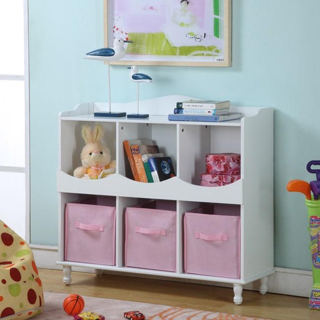Children\'s White Storage Container with Pink Storage Bins.