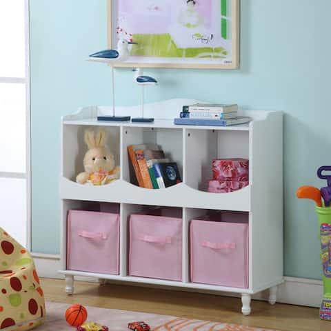 Children's White Storage Container with Pink Storage Bins