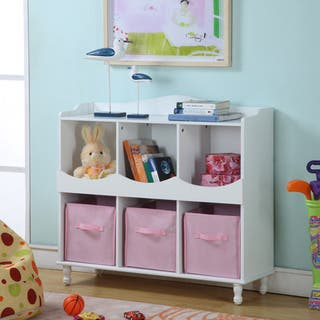 Childrens White Storage Container With Pink Bins