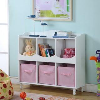 Childrenu0027s White Storage Container With Pink Storage Bins