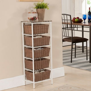 Metal and Wicker Tiered Storage Shelf