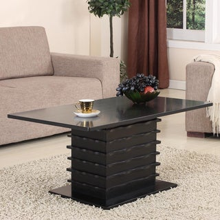 Black Finish Slated Base Cocktail Table