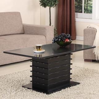 Black Finish Slated Base Cocktail Table