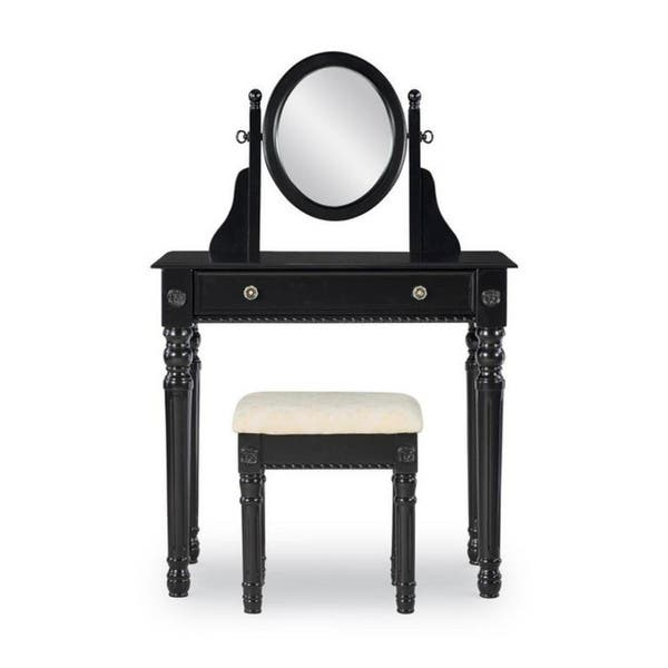 Linon Harper Vanity Set Including Mirror And Stool Silver: Ideas About Linon White Vanity Stool Set