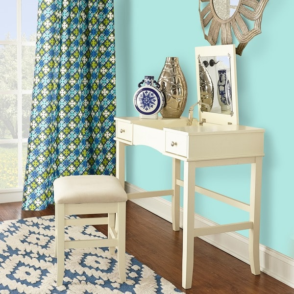 Linon Hermosa Cream Vanity Table, Stool And Mirror