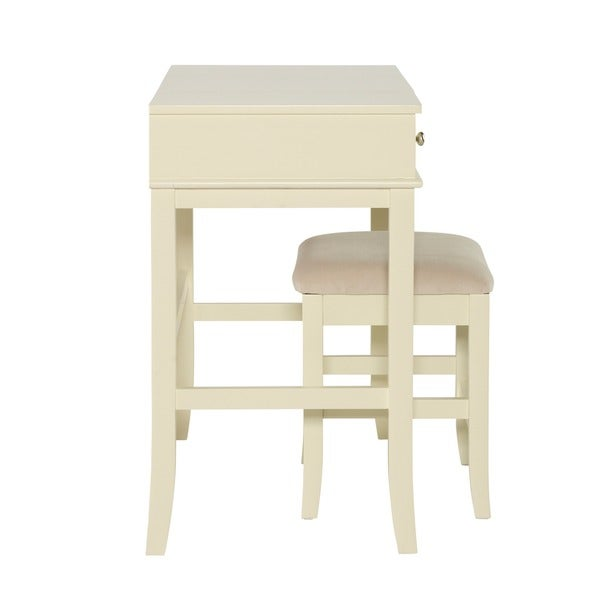 Linon Hermosa Cream Vanity Table, Stool And Mirror   Free Shipping Today    Overstock.com   16436900