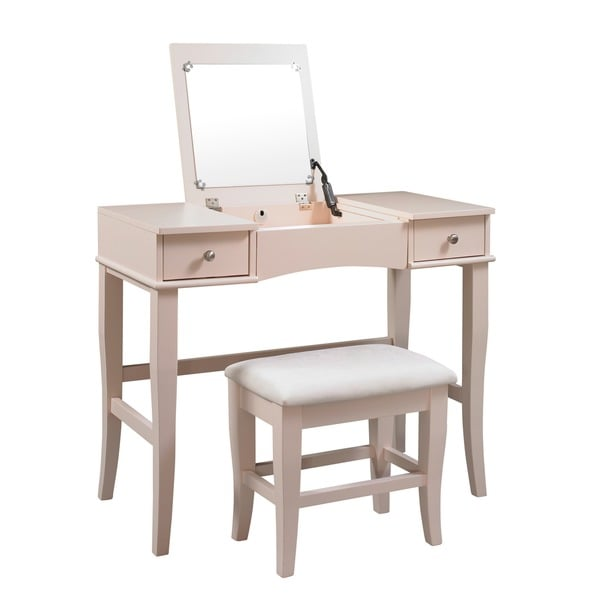 Linon Jackson Vanity Set With Mirror Reviews: Linon Hermosa Cream Vanity Table, Stool And Mirror