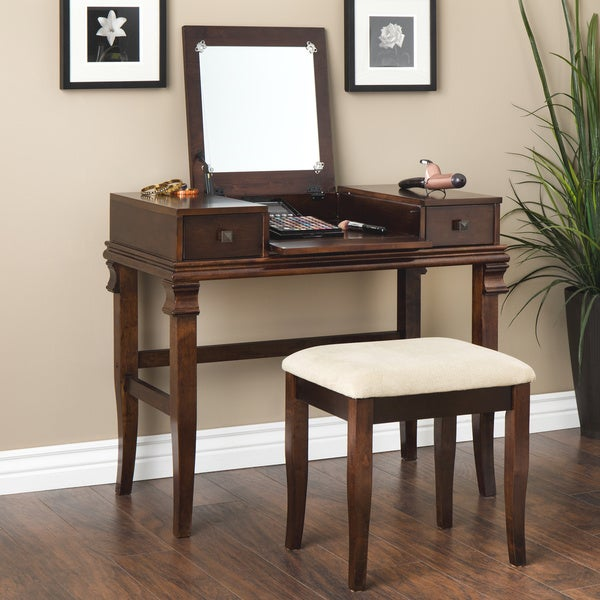 Linon ariana beautification set brown vanity table for Brown vanity table