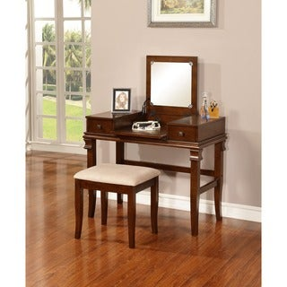 Linon Ariana Beautification Set - Brown Vanity Table, Stool & Flip Top Mirror