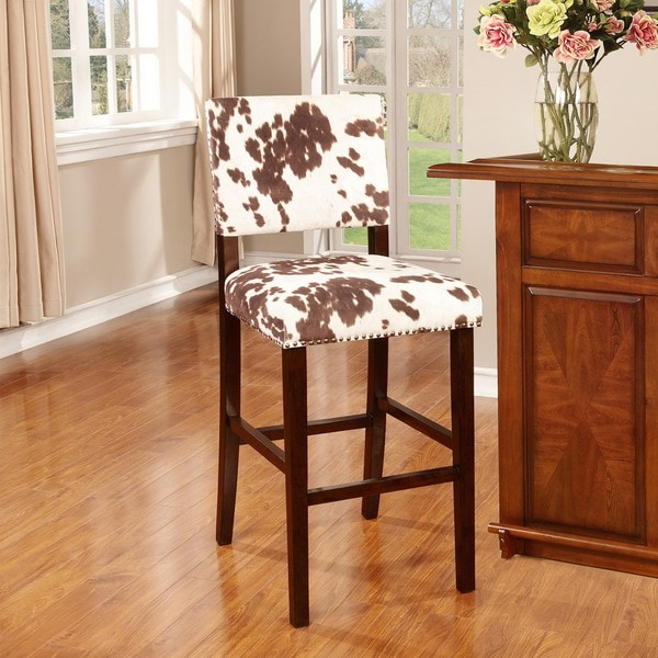 Linon Holcombe Stationary Bar Stool Cattle Print Upholstery. Opens flyout.