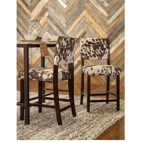 Linon Holcombe Stationary Counter Stool Plush Cow Print Seat & Back