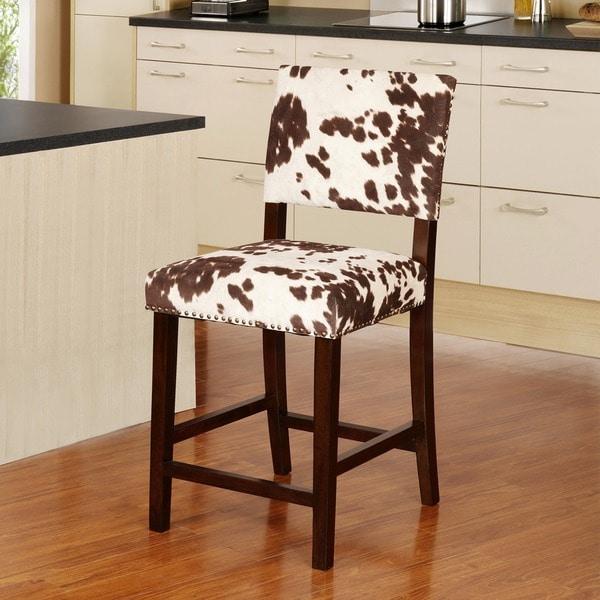 Linon Holcombe Stationary Counter Stool Plush Cow Print
