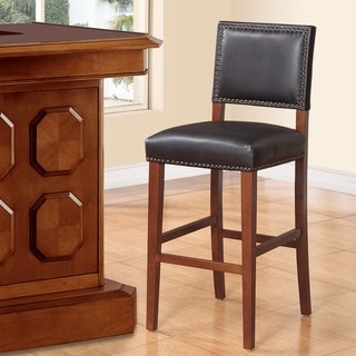 Copper Grove Durlesti Bar Stool with Black Fabric Upholstery and Bronze Nailhead Trim