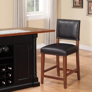 Copper Grove Durlesti Counter Stool with Black Fabric Upholstery and Bronze Nailhead Trim