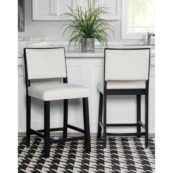 Shop Linon Caitlin Black Frame Counter Stool with White