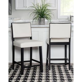 Linon Caitlin Black Frame Counter Stool with White Fabric