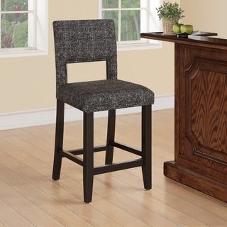 Linon Zeta Stationary Counter Stool, Black & White Tweed Fabric