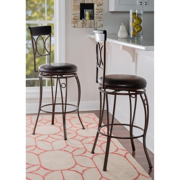 Linon Spirals Back Design Bar Stool, Brown PVC