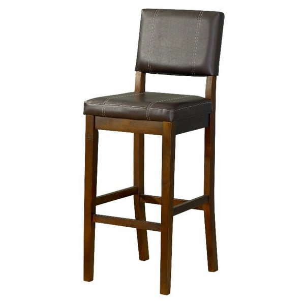 Linon Lombardy Counter Stool With Dark Brown Vinyl Free