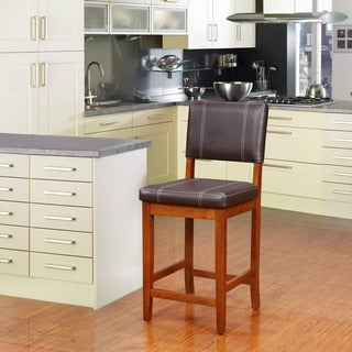 Linon Lombardy Counter Stool with Dark Brown Vinyl