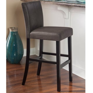 Linon Marrakesh Bar Stool with Black Base and Charcoal Faux Leather Upholstery