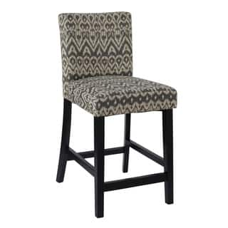 Livingston Black Floral Back Swivel Counter Stool Free