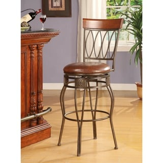 Linon Matte Black Bar Stool, Elliptical Back Design