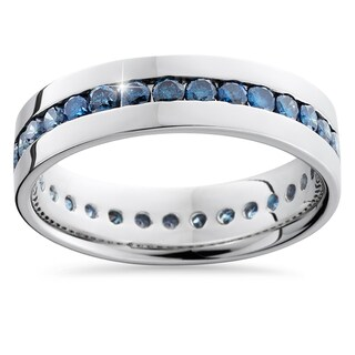 14k White Gold 1 1/4ct Channel Set Blue Diamond Men's Band (More options available)