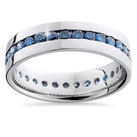 14k White Gold 1 1/4ct Channel Set Blue Diamond Men's Band