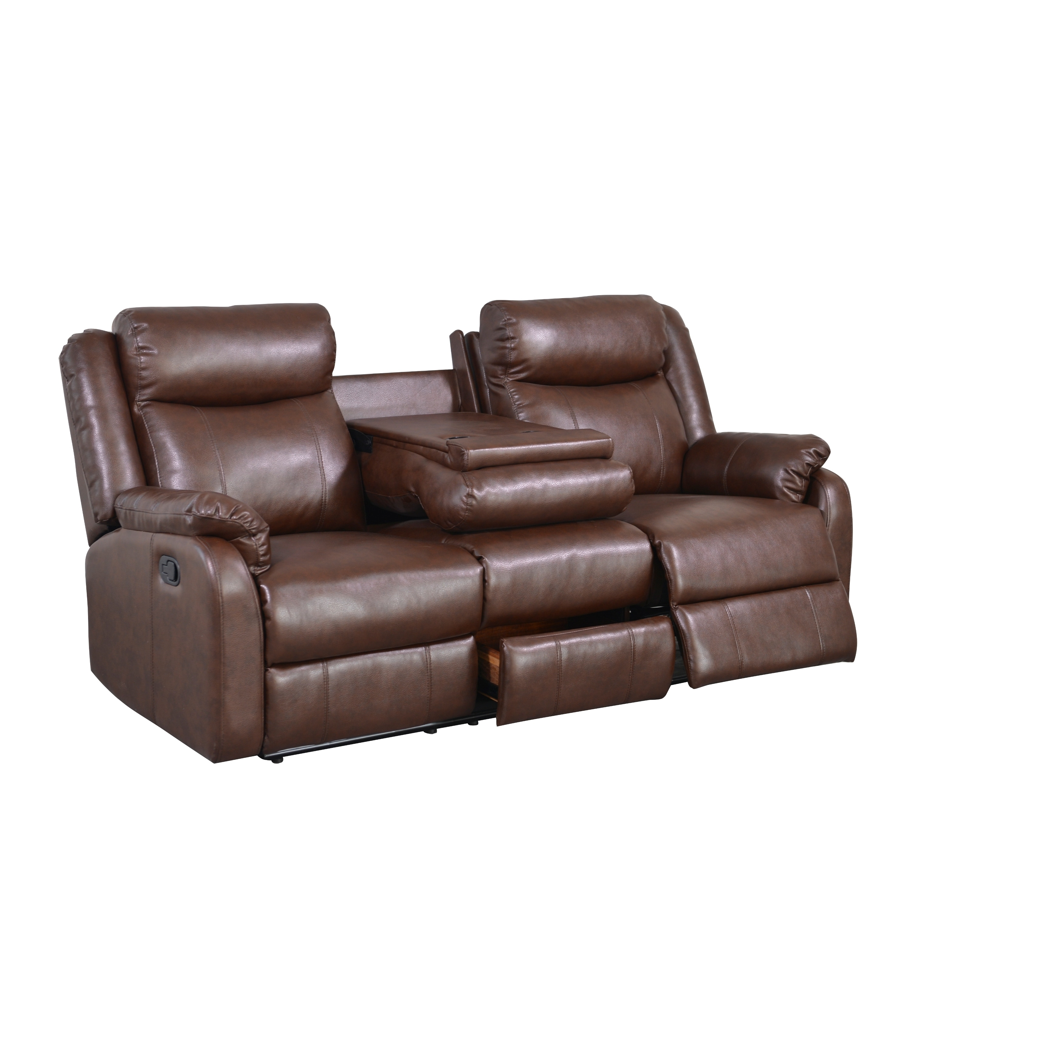 Global Brown Bonded Leather Double Recliner with Table Co...