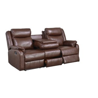 Brown Bonded Leather Double Recliner with Table Console