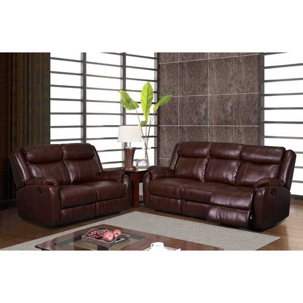 Incredible Shop Brown Bonded Leather Double Recliner With Table Console Caraccident5 Cool Chair Designs And Ideas Caraccident5Info