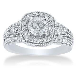 14k White Gold 1 1/3ct TDW Diamond Vintage Engagement Ring