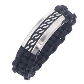 Stainless Steel Men's Braided Leather Black Enamel Bracelet By Ever One