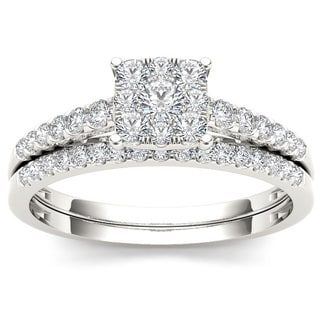 De Couer 10k White Gold 1/2ct TDW Diamond Cluster Engagement Ring Set