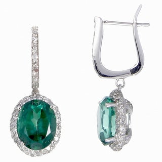 14k White Gold 4/5ct TDW Diamond and Green Topaz Earrings (G-H, I1-I2)
