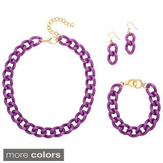 Alexa Starr Medium Grooved Link Chain 3-piece Jewelry Set
