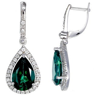 14k White Gold 1/2ct TDW Diamond and Green Topaz Earrings (G-H, I1-I2)
