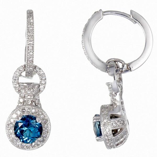 459cc879a24d Shop 14k White Gold 1 1 6ct TDW Diamond and London Blue Topaz Earrings  (G-H