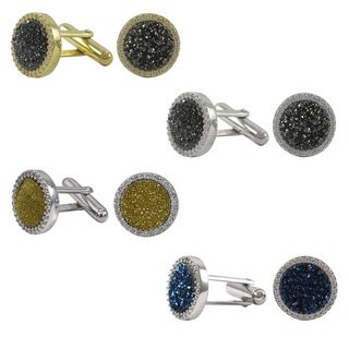 Luxiro Sterling Silver Druzy Quartz and Cubic Zirconia Round Mens Cufflinks