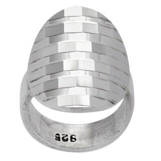 Kele & Co. Sterling Silver Diamond-cut Disco Ring