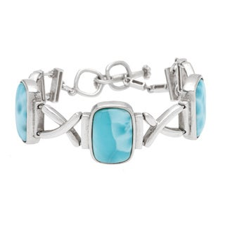 Sterling Silver Larimar Toggle Bracelet