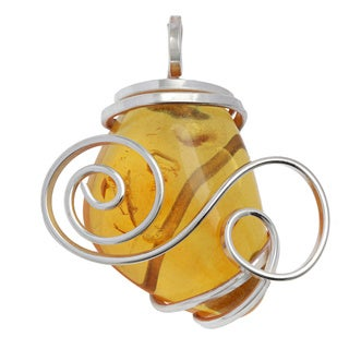 Kele & Co's Sterling Silver Amber Pendant