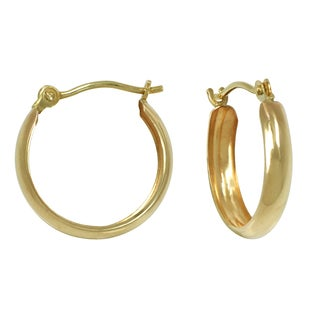 14k Yellow Gold Petite Polished Band Hoop Earrings