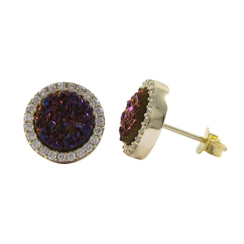 Luxiro Sterling Silver Druzy Quartz and Cubic Zirconia 11mm Circle Stud Earrings
