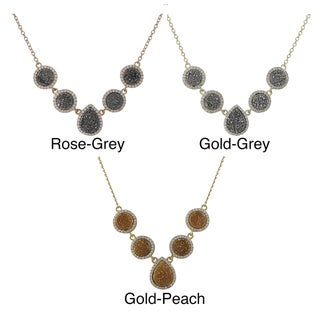 Luxiro Rose or Yellow Goldplated Sterling Silver Druzy Quartz and Cubic Zirconia Necklace