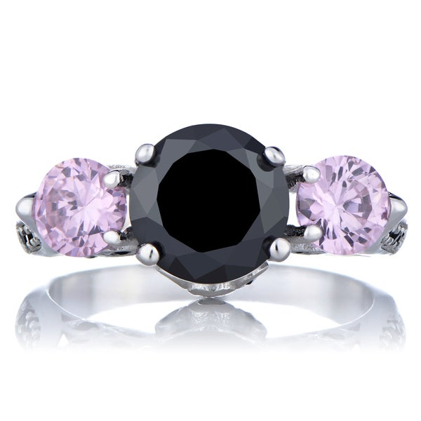 Pink and Black Cubic Zirconia Engagement Ring Free Shipping Today Oversto