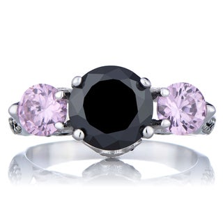 Pink and Black Cubic Zirconia Engagement Ring