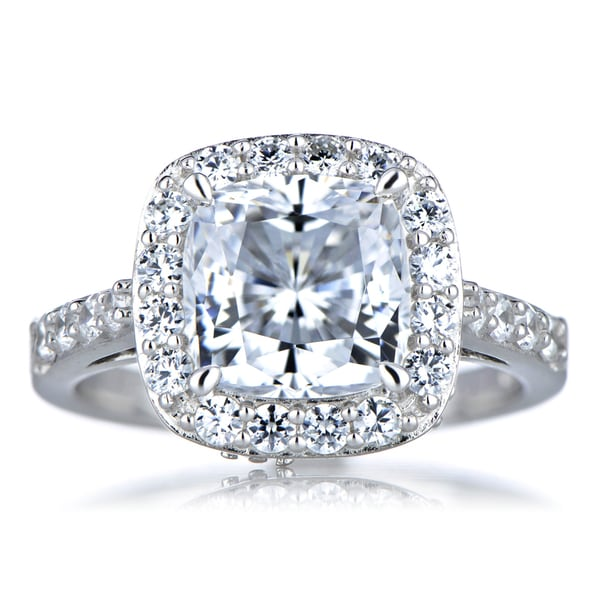 Sterling Silver Cushion Cut Cubic Zirconia Halo Engagement